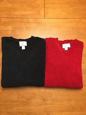 2 Women's Large Express Tricot Sweater Knit Green and Red EUC Free Shipping