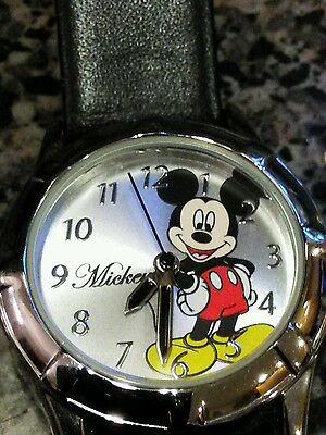 Disney Mickey Mouse Stainless Wrist Watch Black Leather Band