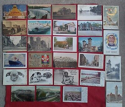 Mixed lot of 27 Postcards 1903-1913 Ships, railroad, Mining Horse & Buggy