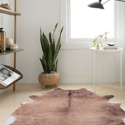 Floor Rug Mat Faux Cow Hide Cowhide Grey Ivory Soft Cozy Modern Carpet 88x92cm