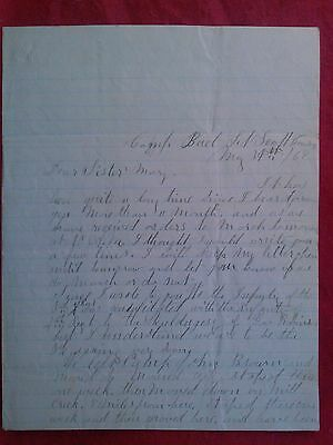 RARE 1862 CIVIL WAR LETTER from a Union Soldier to his sister Kentucky