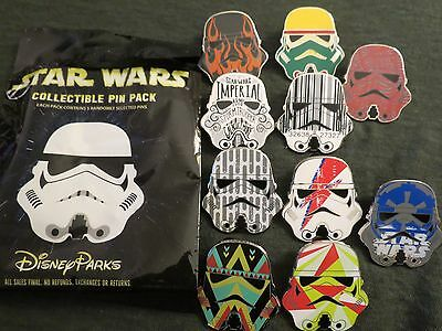 Disney Parks Star Wars Stormtrooper Helmet Mystery Bag 10 Pin Set