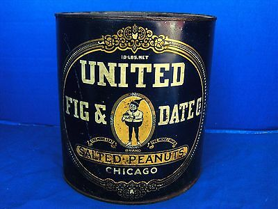 ANTIQUE 10LB UNION FIG & DATE Co.SALTED PEANUTS TIN LITHO CAN CHICAGO 1800's