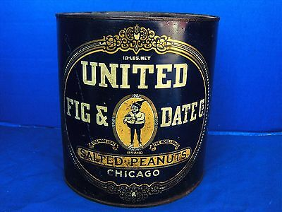ANTIQUE 10LB UNITED FIG & DATE Co.SALTED PEANUTS TIN LITHO CAN CHICAGO 1800's