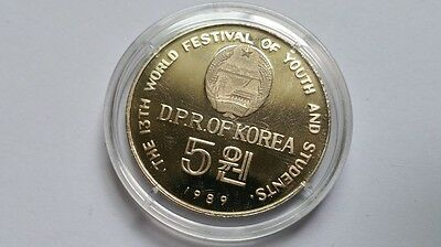 """Korea 5 won 1989 """"World Festival of Youth and Students"""" in capsule"""
