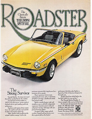 Original Print Ad-1978 TRIUMPH SPITFIRE 1500 ROADSTER-The Strong Survivor-Yellow