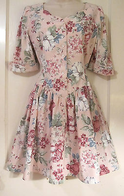 Vintage Mini Dress Floral Party Full Skirt Swing Secretary Cotton Peach Green M