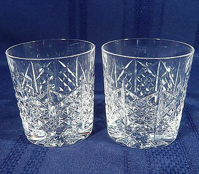 2 Highland Edinburgh Crystal WHISKEY Drinking Liquor 6 oz. Glasses SIGNED