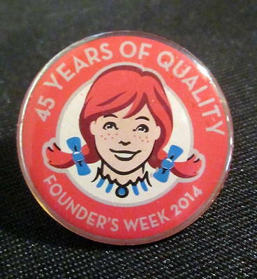 Wendy's Advertising Lapel Hat Pin 45 Years of Quality 2014 Founders Week