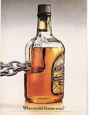 Original Print Ad-1980 CHIVAS REGAL BOTTLE with Heavy Chain-WHO COULD BLAME YOU?