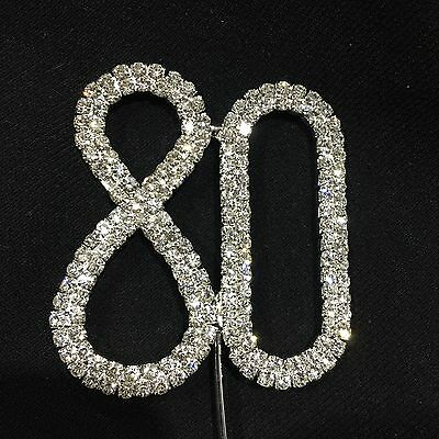 Cake Topper 80 Birthday Number Sparkling Diamante Crystal Rhinestone Silver 80th