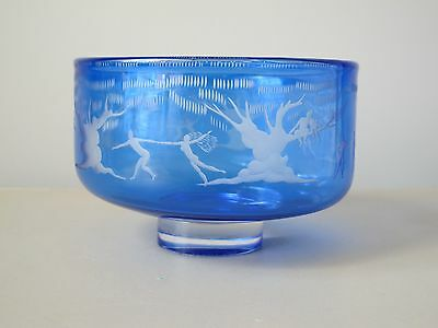 Orrefors Expo Blue Flashed Engraved Footed Bowl by Gunnar Cyren Circa 1966 Rare