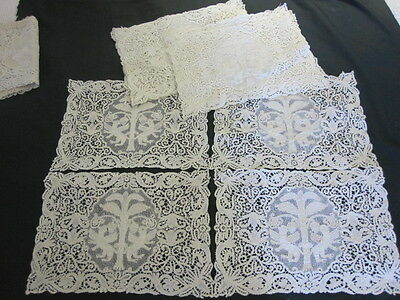 12 LIGHT ECRU LACE figural PLACEMATS NEEDLE BOBBIN LACE