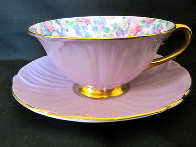Shelley Oleander Wide Cabinet Cup Saucer Summer Chintz