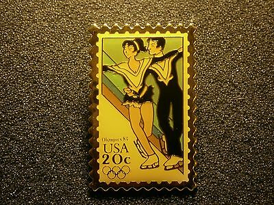 Usps Stamp Design Pin Figure Skating 1984 Olympics Nice Pin, Combined Shipping