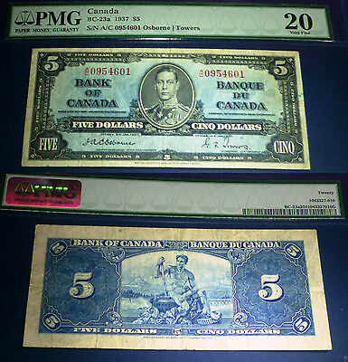 1937  $5 OSBORNE / TOWERS Bank Note ,PMG 20 Very Fine