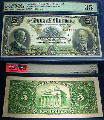 1923 Bank Of Montreal $5 Large Canadian Chartered banknote,PMG 35 ,3 rd highest