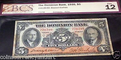 The Dominion  Bank  ,canada 1935 , $5