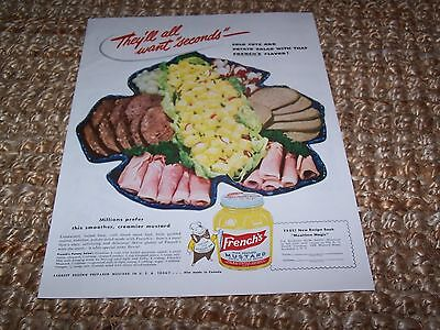 c1948 vintage French's Mustard magazine color print ad ~10.5X13.5 in.