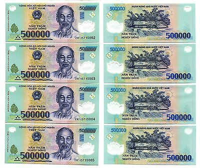2 Million VietNam dong polymer Currency 4 x 500,000 500000 dong UNC USA Seller