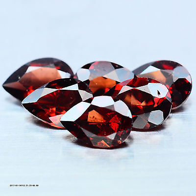 6.54 Ct Aaa! Natural! 8Pcs Red Garnet Pear Africa