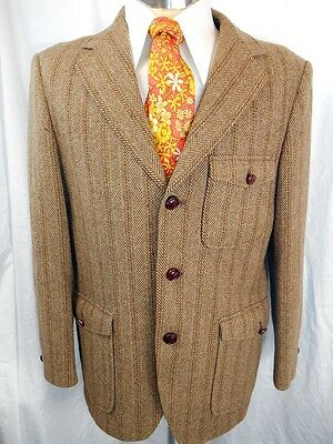 Original Vintage 1950s 60s Brown Blue Pure English Wool Blazer Jacket 38 Chest