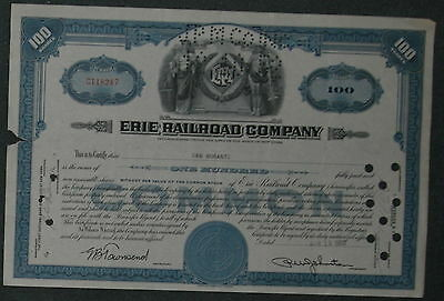 Erie Railroad Company 1952 100 Shares .