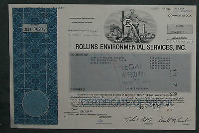 Rollins Environmental Services, Inc.1986 1000 Shares .