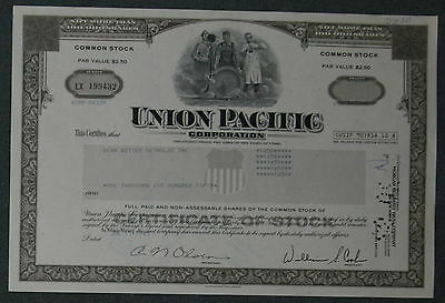 Union Pacific Coroperation 1985 1650 Shares .