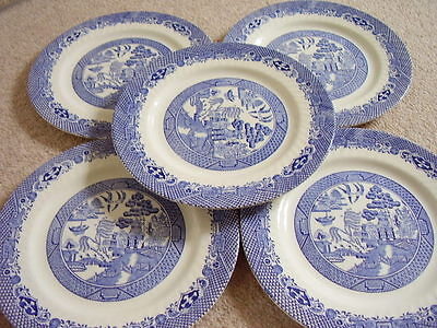 Willow Staffordshire England porcelain blue and white plate-dish ,set of 5
