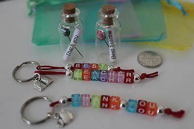 Keyring Gift Best Teacher B Small Glass Wish//Message in a Bottle Thank You