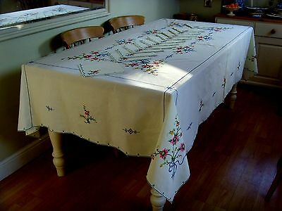 Unused Large Vintage Hand Embroidered Tiny Cross Stitch Tablecloth & 12 Napkins