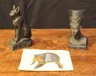 Two Egyptian Style Ornaments of Bastet and Nefertiti with Papyrus work Good Luck