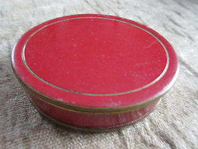 Old Vintage Compact Red Enameled Metal