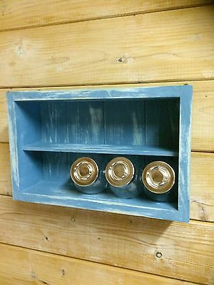 Wooden Spice Rack shabby chic style with Glass Jars 10,12.15.20