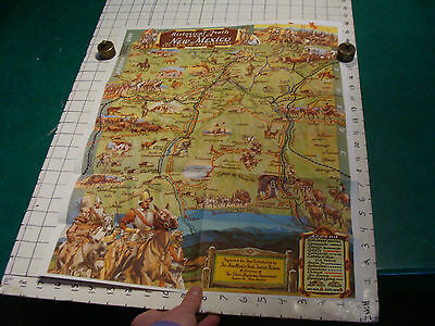 vintage HIGH GRADE travel brochure: NEW MEXICO MAP historical trails 1951 GREAT