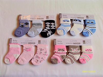 Baby Boy / Girl 3 Pack Socks With Various Pictures And Designs