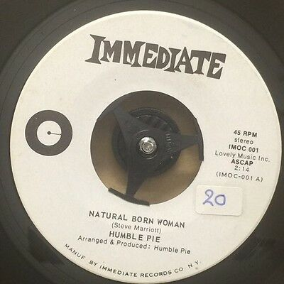 "HUMBLE PIE-Natural Born Woman-7"" Single 45rpm Record-Immediate-IMOC001-1969-US"