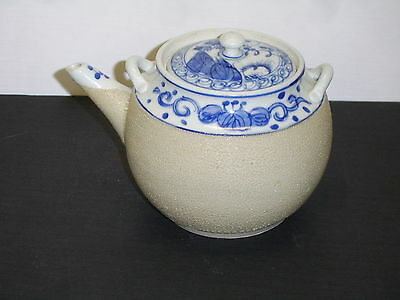Blue Willow Style Tea Pot Beaded Textured Body   No Handle