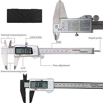 "Digital Vernier Caliper 150mm 6"" Micrometer Measurment Tool Plastic / Steel"