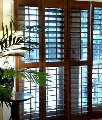 "New Interior Solid Wood Plantation Shutters 3.5"" Louvers"