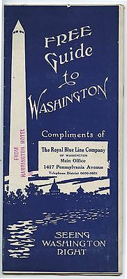 Old 1920's-30's Guide to Washington DC Royal Blue Line Bus Company