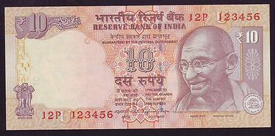 India, Rs.10 Banknote Solid Fancy Number 123456, UNC