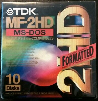 "TDK MF-2HD MS-DOS Formatted 10 Pack 3.5"" Floppy disks NEW SEALED"