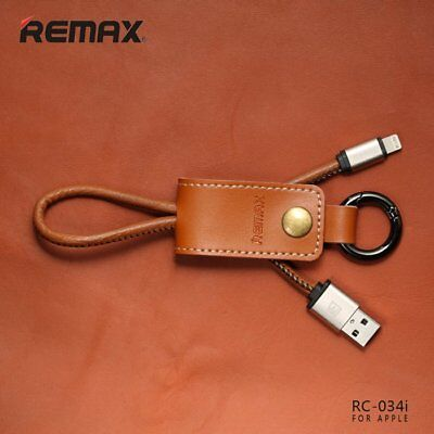 Remax Leather KeyRing Sync Data Fast Charge Cable for iPhone 5/6/7 - Brown