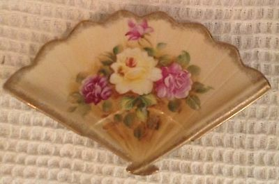 Fan Wall Plaque Floral Ceramic