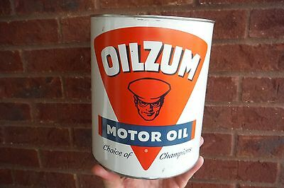 Vintage Oilzum Oil Can - Round 1 Gallon Size - Gas Service Station Sign Rare