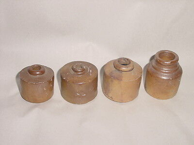 LOT of FOUR ~ 4 ANTIQUE CIVIL WAR ERA CLAY STONEWARE POTTERY INKWELLS