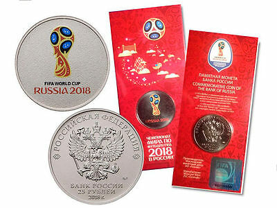 Russia OFFICIAL FIFA WORLD CUP Footbal 2018 colored 25 rubles 2018