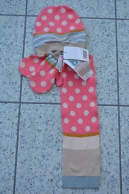 *NEW* Mamas and Papas Girls Hat Scarf and Mitts Mittens Set -One Size -3-5 Years